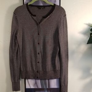 Ann Taylor Striped Black and White Cardigan Size M